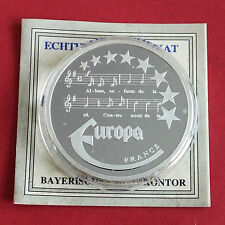 FRANCE 1997 EUROPE COMMEMORATIVE 40mm .999 FINE SILVER PROOF MEDAL A - coa