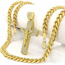 "Men Iced Out Hip Hop 14k Gold Plated Jesus Big Cross Cz Pendant 30"" Cuban Chain"
