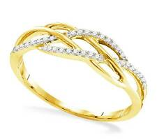 Great Look! 100% 10K Yellow Gold Twisted Style White Diamond Fashion Ring .13ct