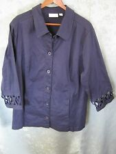 d&co Plus Size 1X Jacket 3/4 Sleeve Cut Out Detailing On Cuffs Stretch Fabric