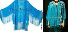Burnout Velvet Silk Fringe Vtg Jacket lt Turquoise New