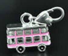 SILVER & PINK BUS CLIP ON CHARM FOR BRACELETS - NEW