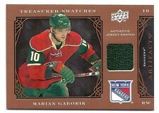 Marian Gaborik, 2009-10 UD Artifacts Teasured Swatches card, # TSR-MG, Rangers