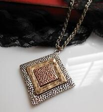 Mixed Metal Gold Copper Silver Tone Brutalist Style Pendant Chain Necklace LL27