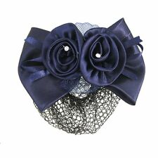 New Blue Flower Bow Hair Clip Snood Net Barrette Bun Cover for Lady Women AD