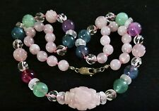 Chinese carved Rose Quartz Longevity Bead knotted sterling clasp  NECKLACE