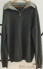 New Genuine Gant 85068 Alpaca Wool Knit Contrast Half Zip Grey XL Jumper Sweater