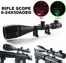 6-24x50 AOEG Hunting Rifle Scope Red Green Dual illuminated Optical Gun Scope