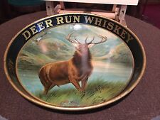 "12"" DEER RUN WHISKEY Baetzhold's Sons of  Buffalo, NY Tin Serving Tray"