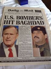 DAILY MAIL 17th JAN 1991 - U.S. BOMBERS HIT BAGHDAD - BARGAIN PRICE!
