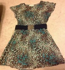 Womens Dress Forever 21 Small Leopard Brown Blue Black Belt