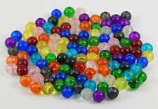 200 Pcs -MIXED COLOUR  CRACKLE  GLASS ROUND BEADS 6mm size JEWELLERY / CRAFT