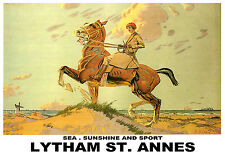 Lytham St Annes - Sea Sunshine And Sport Railway Travel Holiday A3 Poster Print