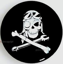 "SPARE TIRE COVER 24.4""-26"" w/ Mechanic Pirate Skull white image on black S-SPH-9"