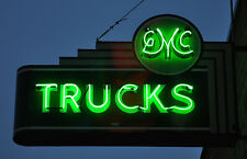 GMC Trucks 1950s Photo of Hanging Sign Lit Up 13 x 19 Photograph