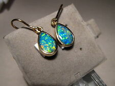 AAA +++ Brilliant Gem Grade  Australian Dangle Opal Earrings 14 kt Gold