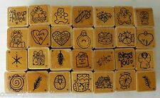 Lot 28 Mini Rubber Stamps for Tags Cards Teachers Scrapbooks by JRL DOTS Set 1