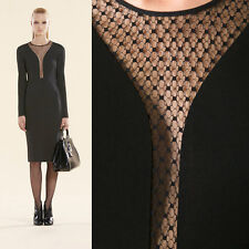 M NEW $1850 GUCCI Black SHEER LACE PLUNGING NECK JERSEY Long Sleeve FALL DRESS