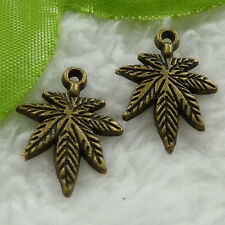 Free Ship 140 pcs bronze plated maple leaf charms 21x15mm #1059