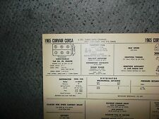 1965 Chevrolet Corvair Corsa SIX Turbocharged Special Cam & R10 Tune Up Chart