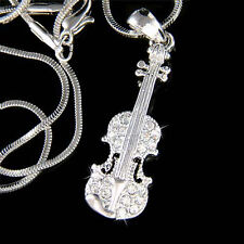 New w Swarovski Crystal Violin Viola Cello Fiddle Musical Charm Pendant Necklace