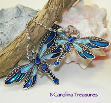 CEILING FAN CHAIN LIGHT SWITCH PULL DRAGONFLY ANTIQUE SILVER BLUE LARGE PAIR