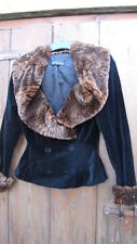 vintage 40's new luxe black velvet faux fur shawl collared JACKET uk10 nwot