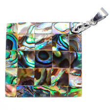 "Mother of Pearl Abalone Sea Shell Square Rhombus Pendant 1 1/4"" Jewelry #14-Z"