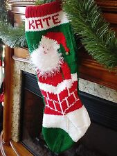 Hand Knit Personalized Christmas Stockings Vintage Santa in Chimney