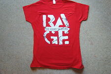 RAGE AGAINST THE MACHINE DISTRESSED RED LADIES SKINNY T SHIRT NEW OFFICIAL RATM