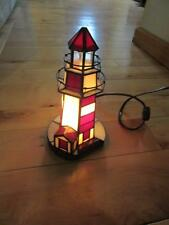 "STAINED GLASS RUBY RED AND WHITE LIGHTHOUSE LIGHTED 9 1/2"" TALL ELECTRIC NICE"
