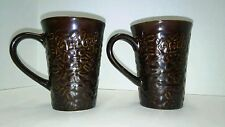 Kahlua Coffee Mugs Brown Coffee Bean Pattern 12 oz. Set of 2