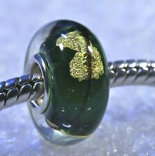 "SINGLE CORE EUROPEAN MURANO STYLE GLASS BEAD-""Green with Gold Flake"""