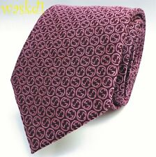 GUCCI burgundy with pink large Interlocking Gs silk twill MENS tie NWT Authentic