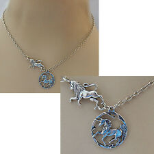 Silver Unicorn & Lion Pendant Necklace Jewelry Handmade NEW Chain Adjustable