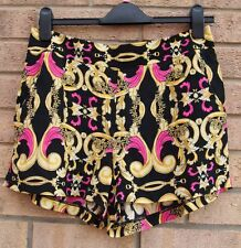 PRIMARK BLACK YELLOW BAROQUE PINK CULOTTE RARE  SHORTS VTG HOT PANTS 12 M