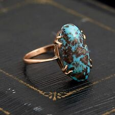 Antique Vintage Victorian 9k Rose Gold English Persian Turquoise Ring Sz 6.5!