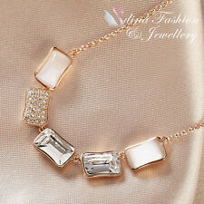18K Rose Gold Plated Swarovski Crystal And Opal Stylish Five Rectangle Necklace