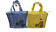 END OF LINE STOCK  OF 10 LADIES WOVEN SHOPPER BAGS WITH HIBISCUS FLOWER PRINTS