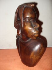 "Vintage African Lady Head & Shoulders Large Hardwood (Mahogany?) 9"" High"