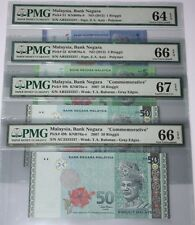 (PL) RM 1/5/50 3333337 PMG 64-67 EPQ ALL SAME PREFIX NUMBER ALMOST SOLID MERDEKA