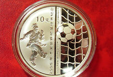2005 China Large Silver Color Proof 10 Yuan- Soccer(Football)  player/ball