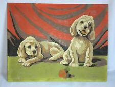 Vintage Paint by Number Puppies With Ball Dogs Painting PBN 8 x 10