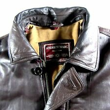 Andrew Marc Brown Leather Jacket Coat Men's Size L-Large Removable Fur Collar