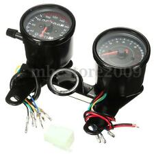 Universal Black Motorcycle LED Backlight Odometer & Tachometer Speedometer Gauge