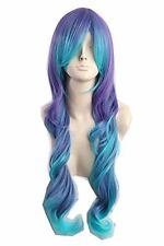 Womens Long Curly Cosplay Wig Teal Blue Purple Two Tone Fiber Hair 25 Inch