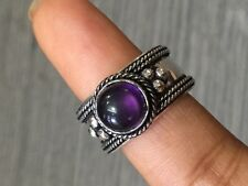 "AMAZING AMETHYSTT STONE.925 STERLING SILVER PLATED RING SIZE US 10"" ADJUSTABLE"