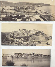 SET OF 3 1881 ALBUMEN PANORAMIC PHOTOS OF RHONE RIVER   PORT - AVIGNON, FRANCE