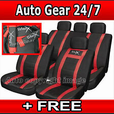 Leather Look UrbanX Red Black Car Steering,Seat Covers Harness Pads Full Set +FR