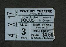 Original 1973 Focus Concert Ticket Stub Buffalo Hocus Pocus